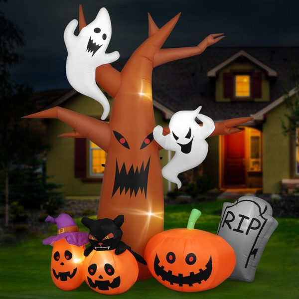 1 Set 2.4m LED Inflatable Tree Ghost Pumpkin Air Blown Up Model Decoration For Yard Garden Party US Plug