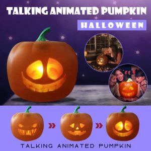 Halloween Electric Pumpkin Projection Lamp Toy Halloween Talking Animated Pumpkin with Built-In Projector & Speaker 3-In-1