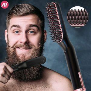 Men Beard Hair Straightener Professional Multifunctional Hair Brush Curling Iron Straightening Hair Curler Hot Heating Comb