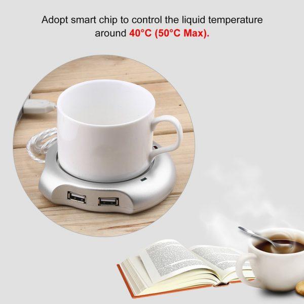 Beverage Cup Silver 4 Port USB Hub Tea Coffee Cup Mug Warmer 50°C Max Liquid Temperature Electric Warmer For PC Heater Pad