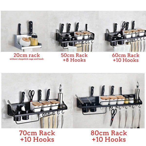 Wall-Mount Spice Racks Aluminum Kitchen Organizer Storage Shelves Utensil Spoon Hanger Hook Kitchen Gadgets Accessories Supplies