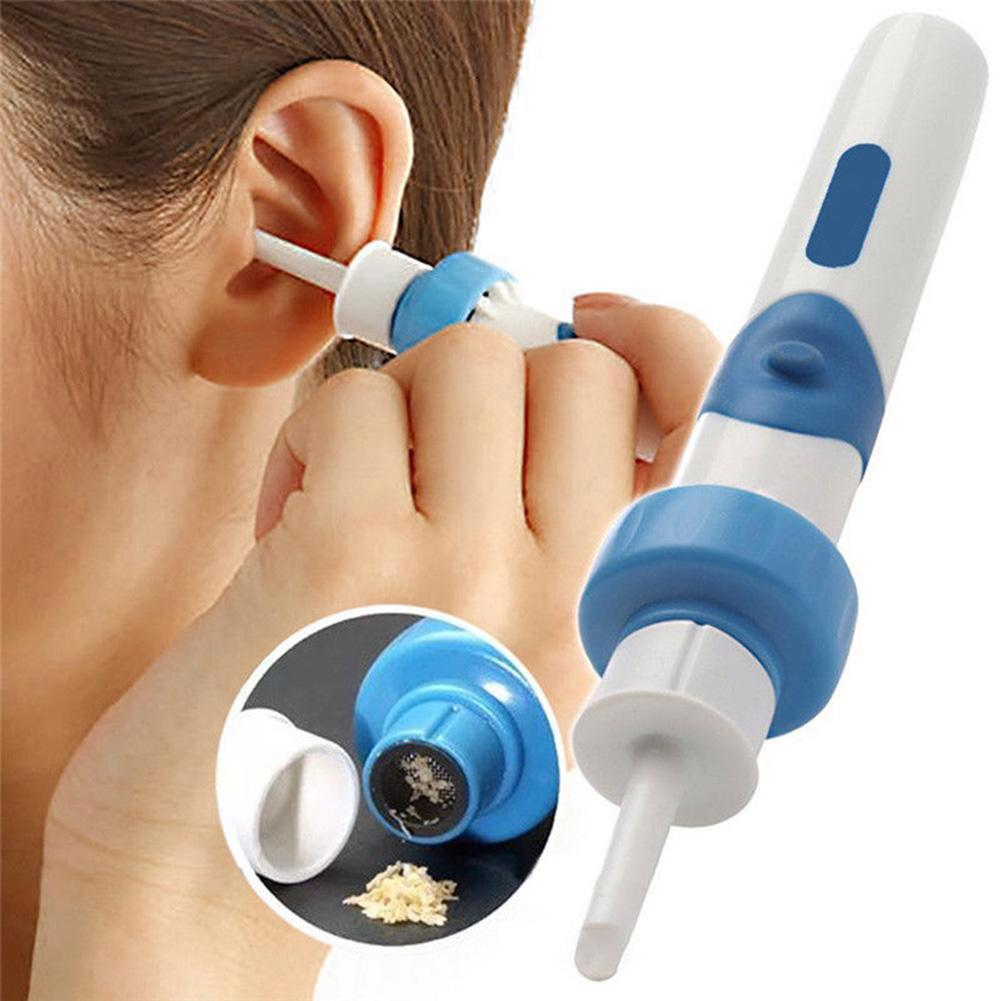 Kids Electric Cordless Safe Soft Silicone Vibration Painless Vacuum Ear Wax Pick Cleaner Remover Set Tool